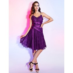 Dress - Grape Plus Sizes / Petite A-line / Princess V-neck / Spaghetti Straps Knee-length Lace