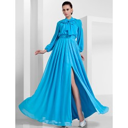 Formal Evening Military Ball Dress Pool Plus Sizes Petite A Line Princess High Neck Floor Length Chiffon