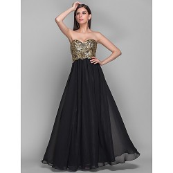 Formal Evening / Military Ball Dress - Black Plus Sizes / Petite A-line / Princess Strapless / Sweetheart Floor-length Chiffon / Sequined