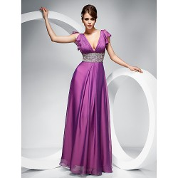 Prom Military Ball Formal Evening Dress Lilac Plus Sizes Petite Sheath Column V Neck Floor Length Chiffon