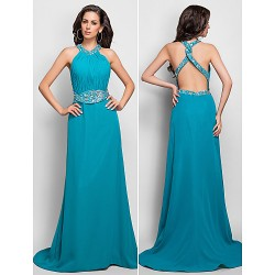 Formal Evening / Military Ball Dress - Jade Plus Sizes / Petite Sheath/Column Halter / High Neck Sweep/Brush Train Chiffon