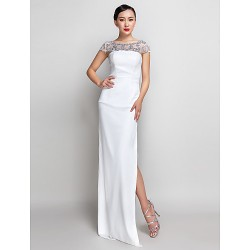 Formal Evening Military Ball Dress Ivory Plus Sizes Petite Sheath Column Strapless Ankle Length Georgette