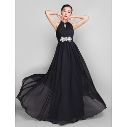 Military Ball / Formal Evening / Wedding Party Dress - Black Plus Sizes / Petite A-line High Neck Floor-length Chiffon