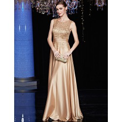 Formal Evening Dress - Brown A-line Jewel Floor-length Satin / Charmeuse / Sequined