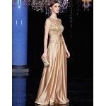 Formal Evening Dress - Brown A-line Jewel Floor-length Satin / Charmeuse / Sequined Special Occasion Dresses