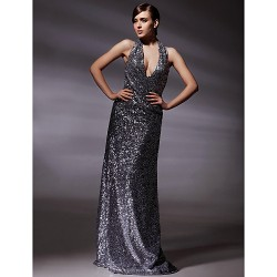 Formal Evening Military Ball Dress Silver Plus Sizes Petite Sheath Column Halter V Neck Floor Length Sequined
