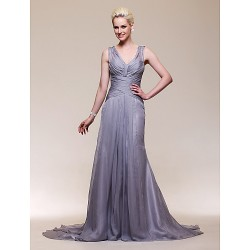 Formal Evening Dress - Silver Plus Sizes / Petite Trumpet/Mermaid V-neck Court Train Chiffon / Stretch Satin