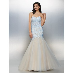 Formal Evening Dress Sky Blue Plus Sizes Petite Fit & Flare Sweetheart Floor Length Lace Tulle