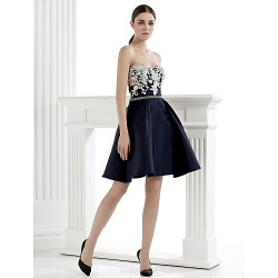 Homecoming Cocktail Party Dress A Line Sweetheart Knee Length Satin