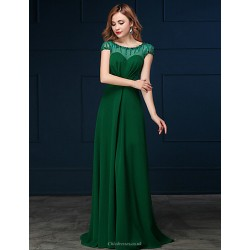 Formal Evening Dress Clover A Line Scoop Sweep Brush Train Chiffon