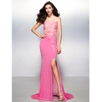 TS Couture Formal Evening Dress - Multi-color Trumpet/Mermaid Strapless Sweep/Brush Train Jersey Special Occasion Dresses