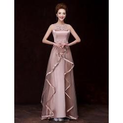 Formal Evening Dress Champagne A Line Bateau Floor Length Satin