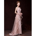 Formal Evening Dress - Champagne A-line Bateau Floor-length Satin Special Occasion Dresses