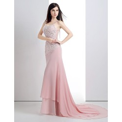 Formal Evening Dress - Candy Pink Petite Trumpet/Mermaid Scoop Court Train Chiffon / Lace / Satin / Tulle