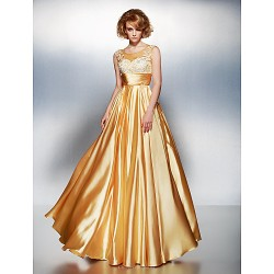 Dress - Gold Plus Sizes / Petite A-line Scoop Floor-length Stretch Satin
