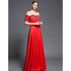 Formal Evening Dress Ruby Sheath Column Bateau Floor Length Lace Satin Tulle Charmeuse
