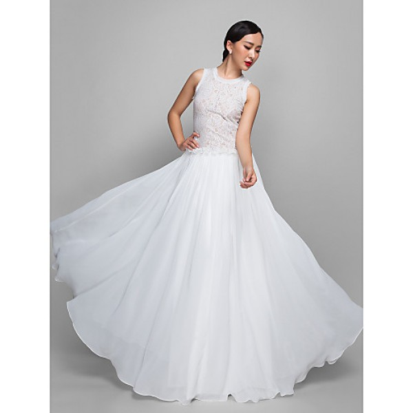 Formal Evening / Military Ball Dress - Ivory Plus Sizes / Petite Sheath/Column Jewel Floor-length Chiffon / Lace Special Occasion Dresses