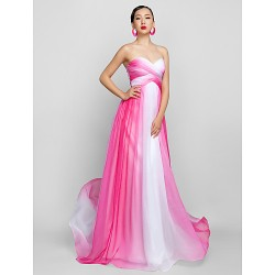 Formal Evening / Prom / Military Ball Dress - Fuchsia Plus Sizes / Petite A-line Sweetheart Floor-length Chiffon