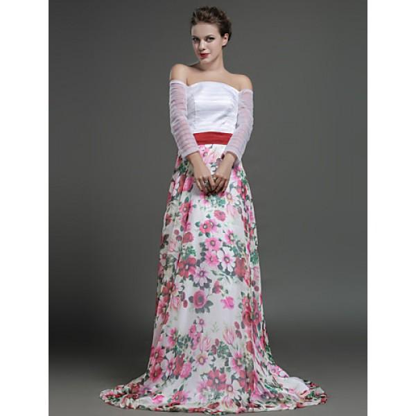 Formal Evening Dress - Print Sheath/Column Off-the-shoulder Sweep/Brush Train Chiffon Special Occasion Dresses