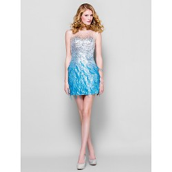 Dress - Multi-color Plus Sizes / Petite Sheath/Column Jewel Short/Mini Sequined
