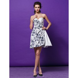 Cocktail Party Dress Print Plus Sizes Petite A Line Princess Sweetheart Short Mini Satin