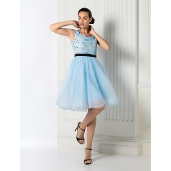 Cocktail Party Homecoming Holiday Prom Dress Sky Blue Plus Sizes Petite Ball Gown Jewel Knee Length Chiffon Tulle