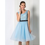 Cocktail Party / Homecoming / Holiday / Prom Dress - Sky Blue Plus Sizes / Petite Ball Gown Jewel Knee-length Chiffon / Tulle Special Occasion Dresses