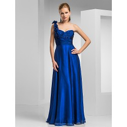 Sheath Column One Shoulder Floor Length Chiffon Evening Dress
