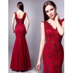 Formal Evening Dress - Burgundy Plus Sizes Trumpet/Mermaid V-neck Floor-length Tulle Special Occasion Dresses