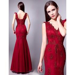 Formal Evening Dress - Burgundy Plus Sizes Trumpet/Mermaid V-neck Floor-length Tulle