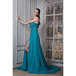Formal Evening Dress Ocean Blue Plus Sizes Petite A Line Strapless Sweep Brush Train Chiffon