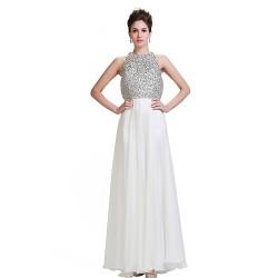 Formal Evening Dress Ivory Plus Sizes Petite A Line Jewel Floor Length Chiffon Stretch Satin
