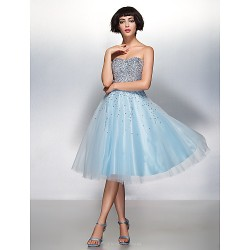 Cocktail Party Dress - Sky Blue A-line Sweetheart Knee-length Organza / Tulle