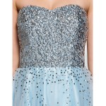 Cocktail Party Dress - Sky Blue A-line Sweetheart Knee-length Organza / Tulle Special Occasion Dresses