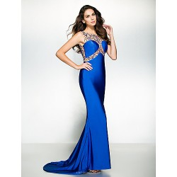 Formal Evening Dress - Royal Blue Trumpet/Mermaid Scoop Court Train Jersey