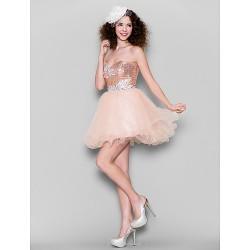 Cocktail Party Dress - Pearl Pink Plus Sizes / Petite Ball Gown Sweetheart Short/Mini Tulle / Sequined