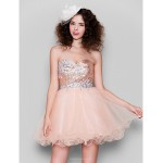 Cocktail Party Dress - Pearl Pink Plus Sizes / Petite Ball Gown Sweetheart Short/Mini Tulle / Sequined Special Occasion Dresses