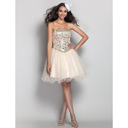 Prom / Homecoming / Cocktail Party / Holiday Dress - Champagne Plus Sizes / Petite A-line / Princess Strapless Short/Mini Tulle