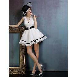 Dress White Ball Gown V Neck Short Mini Spandex