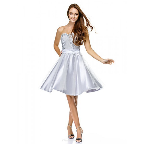 Cocktail Party Dress Silver A Line Sweetheart Knee Length Tulle