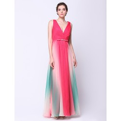 Formal Evening Dress - Multi-color A-line V-neck Ankle-length Chiffon