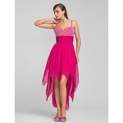 Cocktail Party Prom Dress Fuchsia Plus Sizes Petite A Line Spaghetti Straps Asymmetrical Chiffon