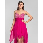 TS Couture Cocktail Party / Prom Dress - Fuchsia Plus Sizes / Petite A-line Spaghetti Straps Asymmetrical Chiffon Special Occasion Dresses