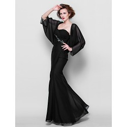 Trumpet Mermaid Plus Sizes Petite Mother Of The Bride Dress Black Floor Length 3 4 Length Sleeve Chiffon
