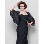 Trumpet/Mermaid Plus Sizes / Petite Mother of the Bride Dress - Black Floor-length 3/4 Length Sleeve Chiffon Mother Of The Bride Dresses