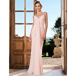 Formal Evening / Prom / Military Ball Dress - Pearl Pink Plus Sizes / Petite Trumpet/Mermaid V-neck / Spaghetti Straps Floor-length