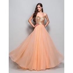 Formal Evening Prom Military Ball Dress Orange Plus Sizes Petite A Line Princess Strapless Sweetheart Floor Length Chiffon