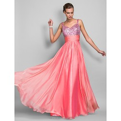 Formal Evening Prom Military Ball Dress Watermelon Plus Sizes Petite Sheath Column Spaghetti Straps Floor LengthChiffon