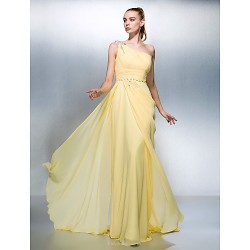 Formal Evening Dress Daffodil Plus Sizes Petite Sheath Column One Shoulder Sweep Brush Train Georgette