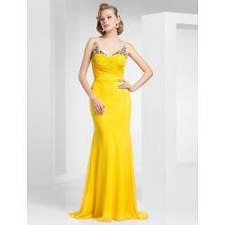 Prom Military Ball Formal Evening Dress Daffodil Plus Sizes Petite Trumpet Mermaid Straps Sweep Brush Train Chiffon